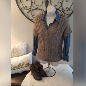 American Eagle hooded cable knit sweater